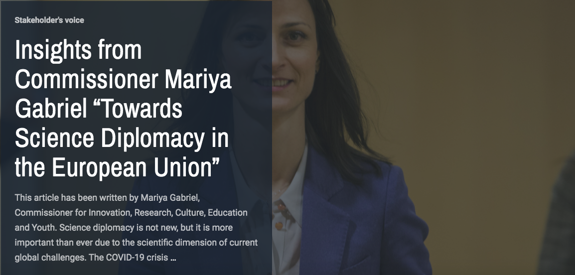 """Insights from Commissioner Mariya Gabriel """"Towards Science Diplomacy in the European Union"""""""